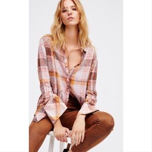 Free People Easy Street Pink plaid shirt